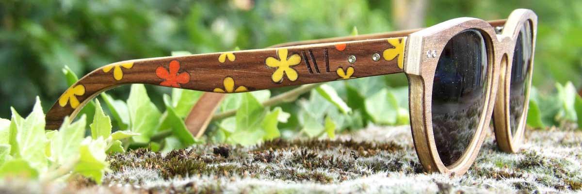 lunettes de soleil en bois flower power